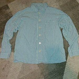 Lands End Mens Button Front Shirt Medium
